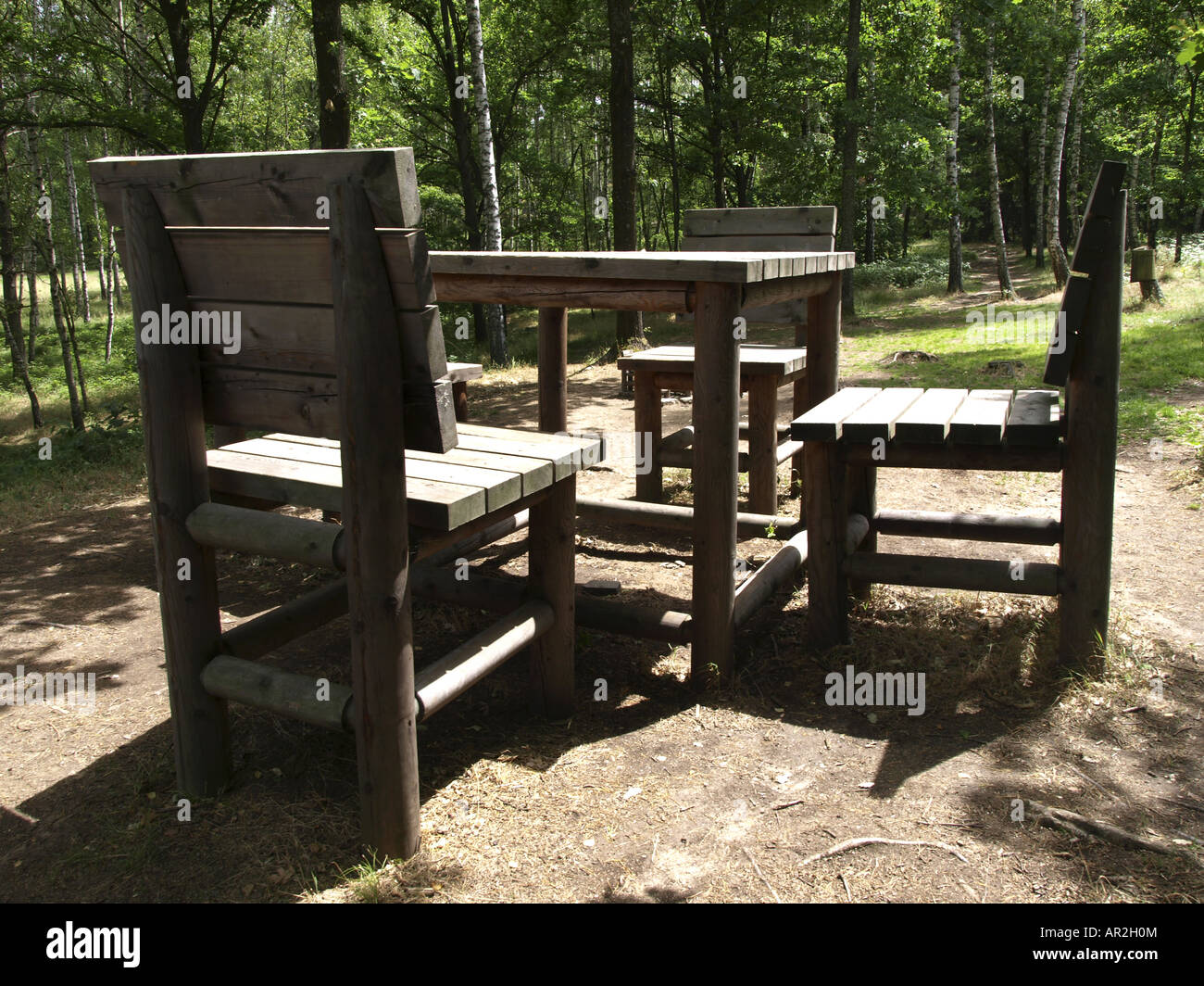 Elegant Natural Park Blockheide, Oversized Wooden Chairs And Table, Austria, Lower  Austria, Waldviertel