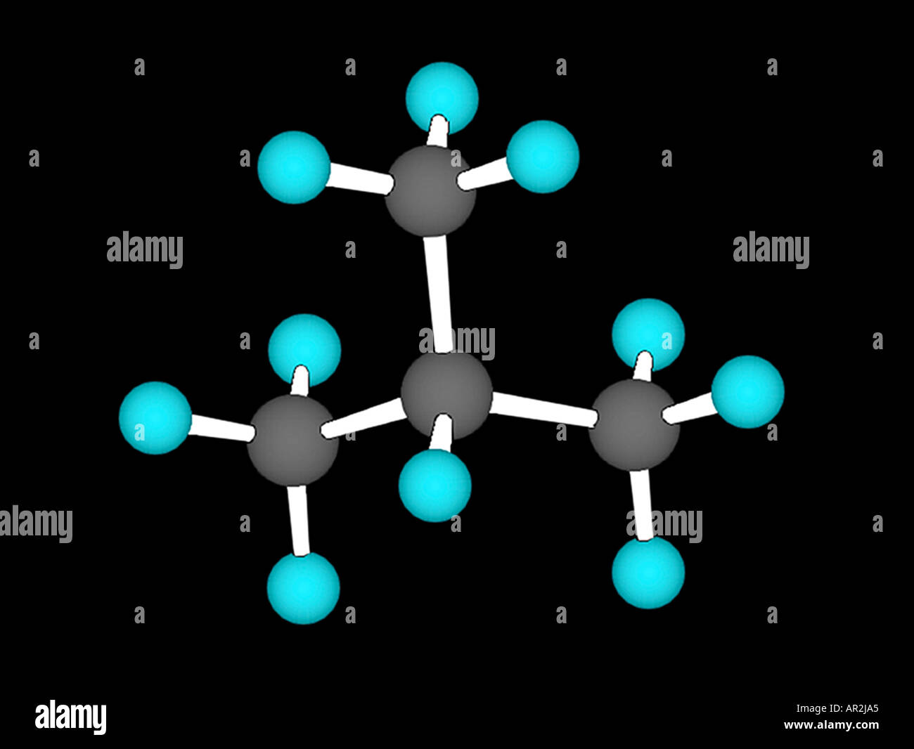 3D computer model of the isobutane molecule - Stock Image