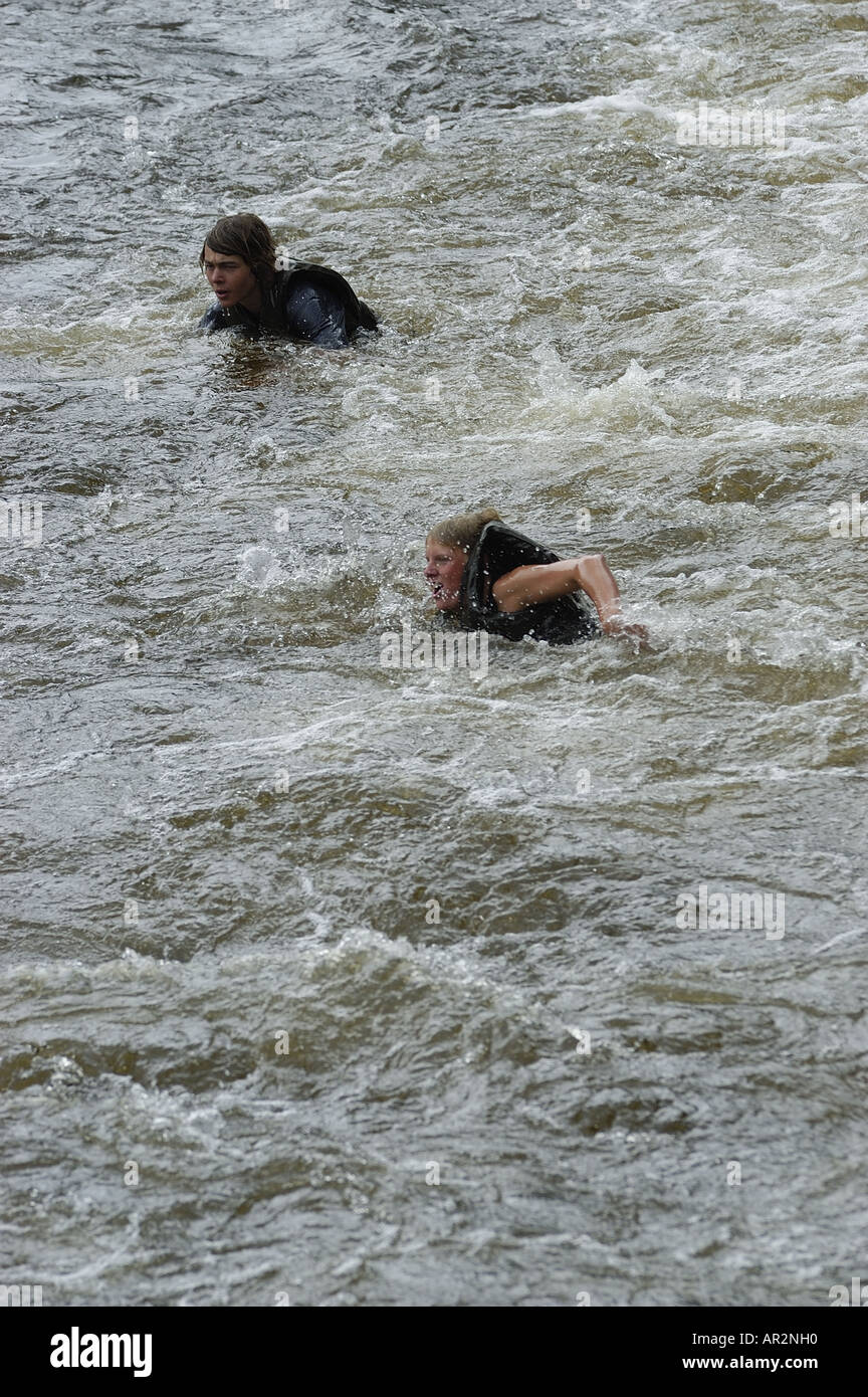 Canoeing Cesky Krumlov Vltava River Czech Republic - Stock Image