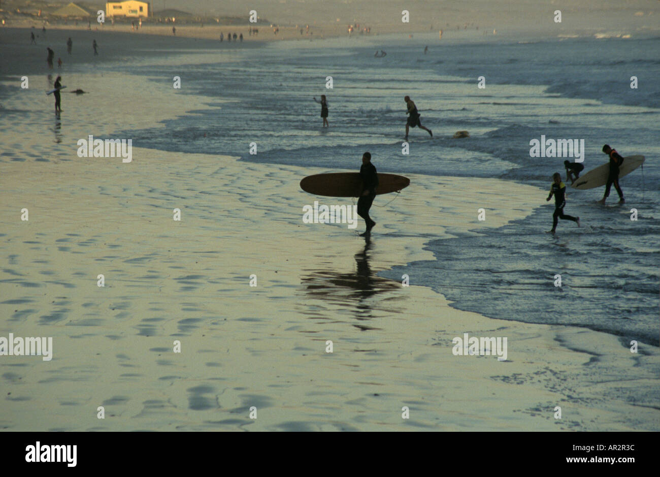 Surfers on False Bay Seaboard, Cape Town, Western Cape, South Africa. - Stock Image