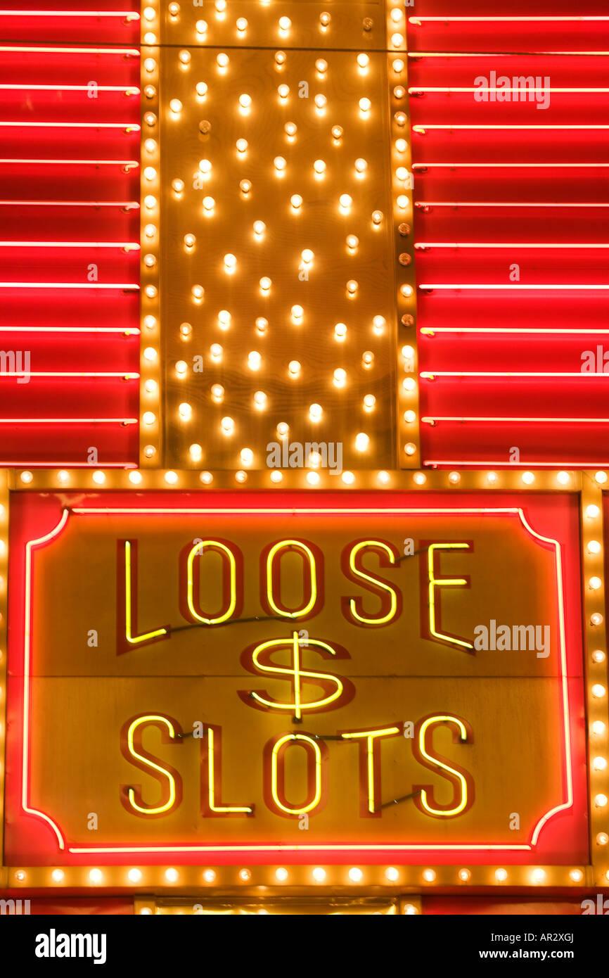 Loose Slots neon sign downtown Las Vegas Nevada - Stock Image