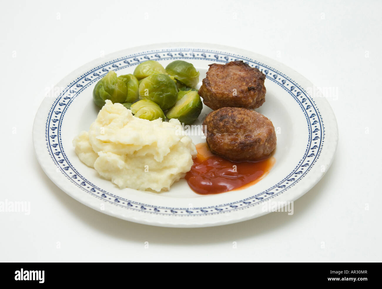 sprouts, minced pork meat and mashed potato meal Stock Photo
