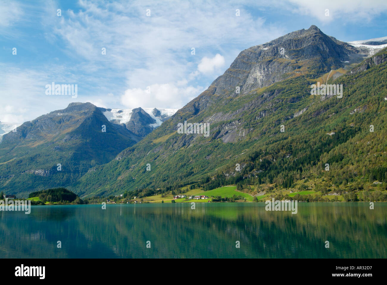 The Olden Valley lies at the bottom of the Briksdalbreen Glacier Sogn og Fjordane Fjordland West Norway Europe - Stock Image