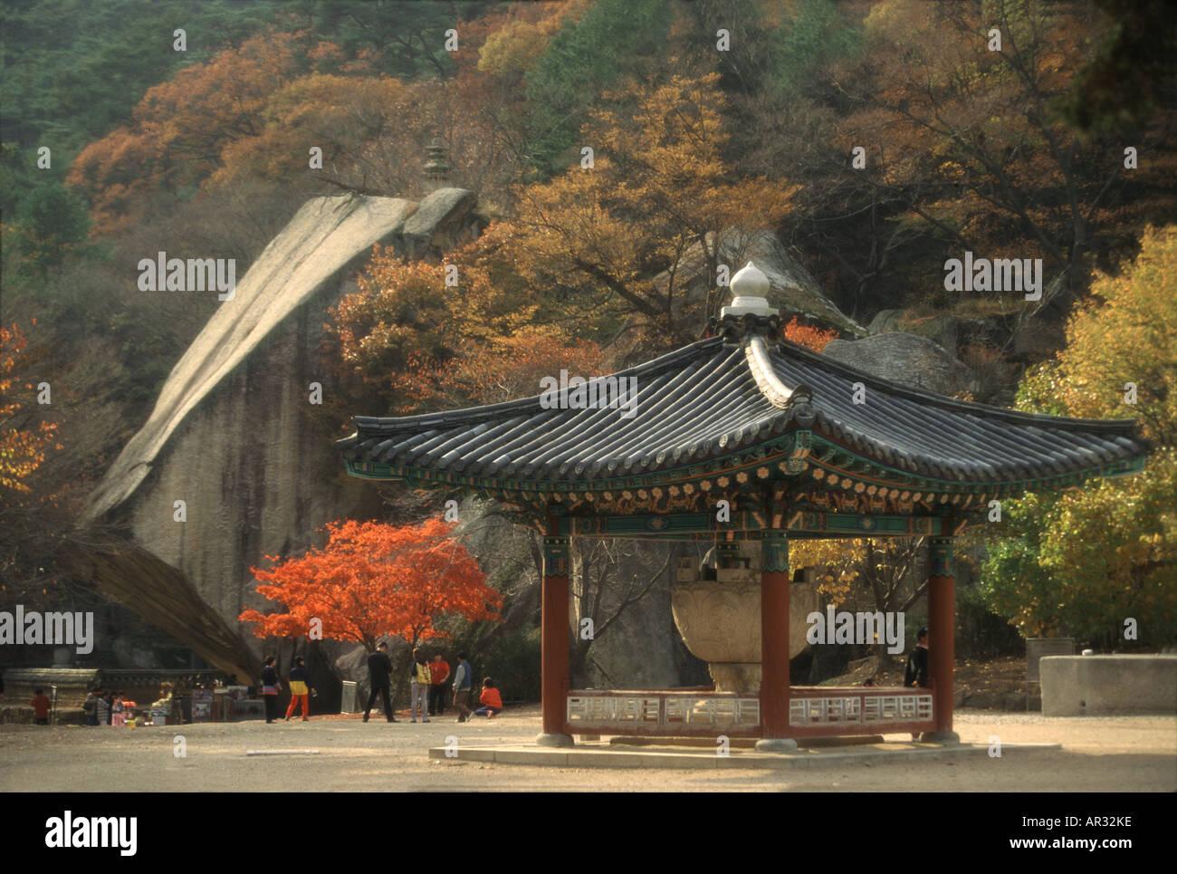 Pavilion, Popchu-sa temple, Popchu-sa, South Korea Asia - Stock Image