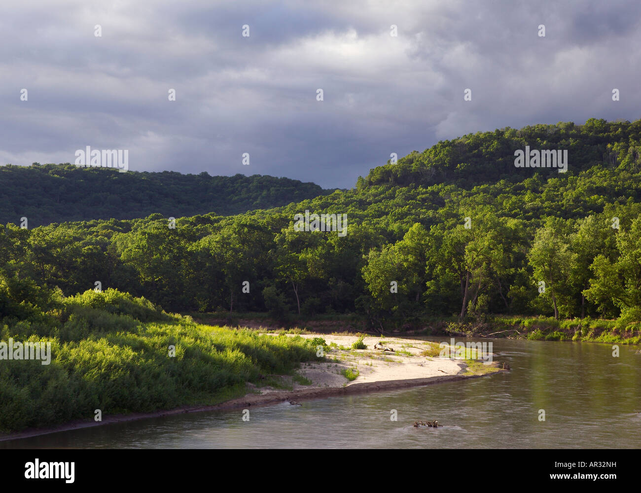 Root River, from the Root River State Trail, Minnesota USA - Stock Image
