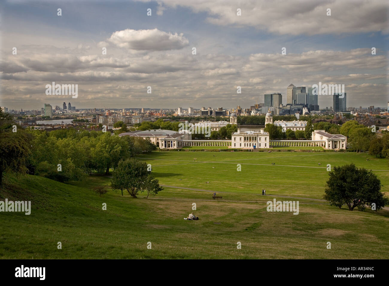 The City from Greenwich Park London UK - Stock Image