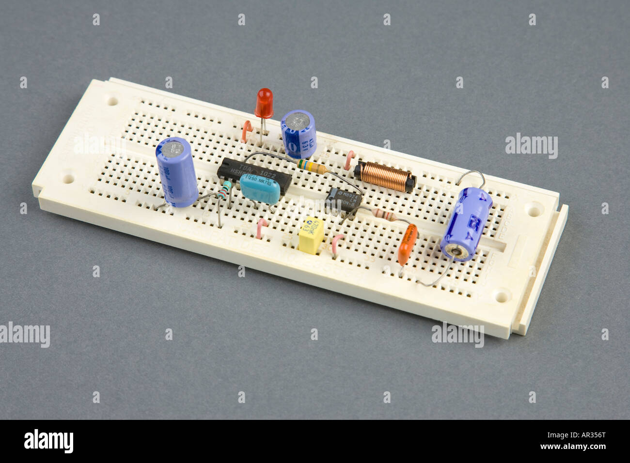 Prototype Electronic Circuit Stock Photos Board Artwork Stripboard And Breadboard Layout Experimental Image