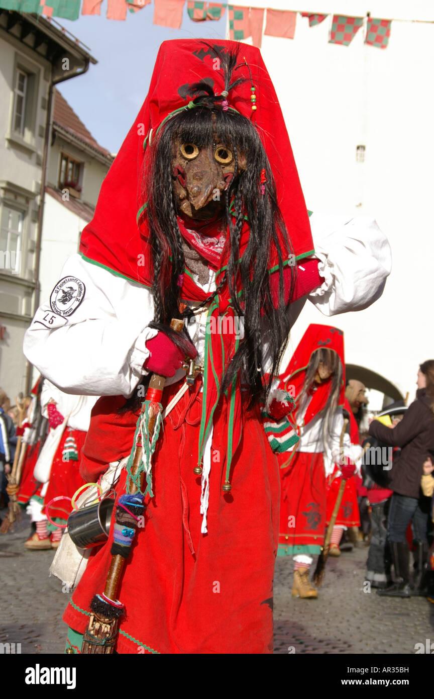Swabian Alemannic carnival in Isny South Germany Schwäbisch Alemannische Fastnacht in Isny im Allgäu Fasching - Stock Image