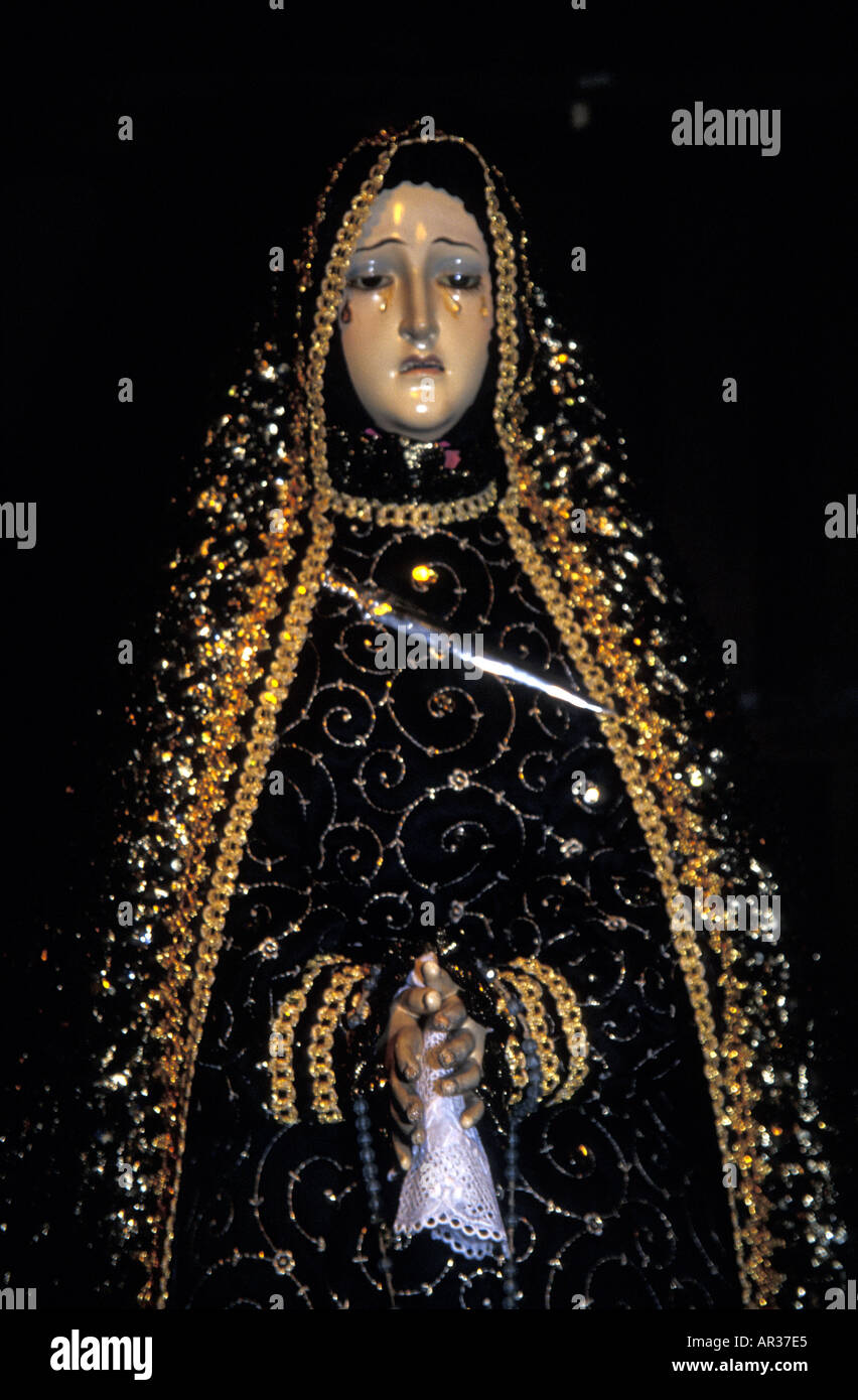 Our Lady of Sorrows,  an icon symbolising the Virgin Mary at the foot of the Cross, San Jose Church, Flores, Philippines Stock Photo