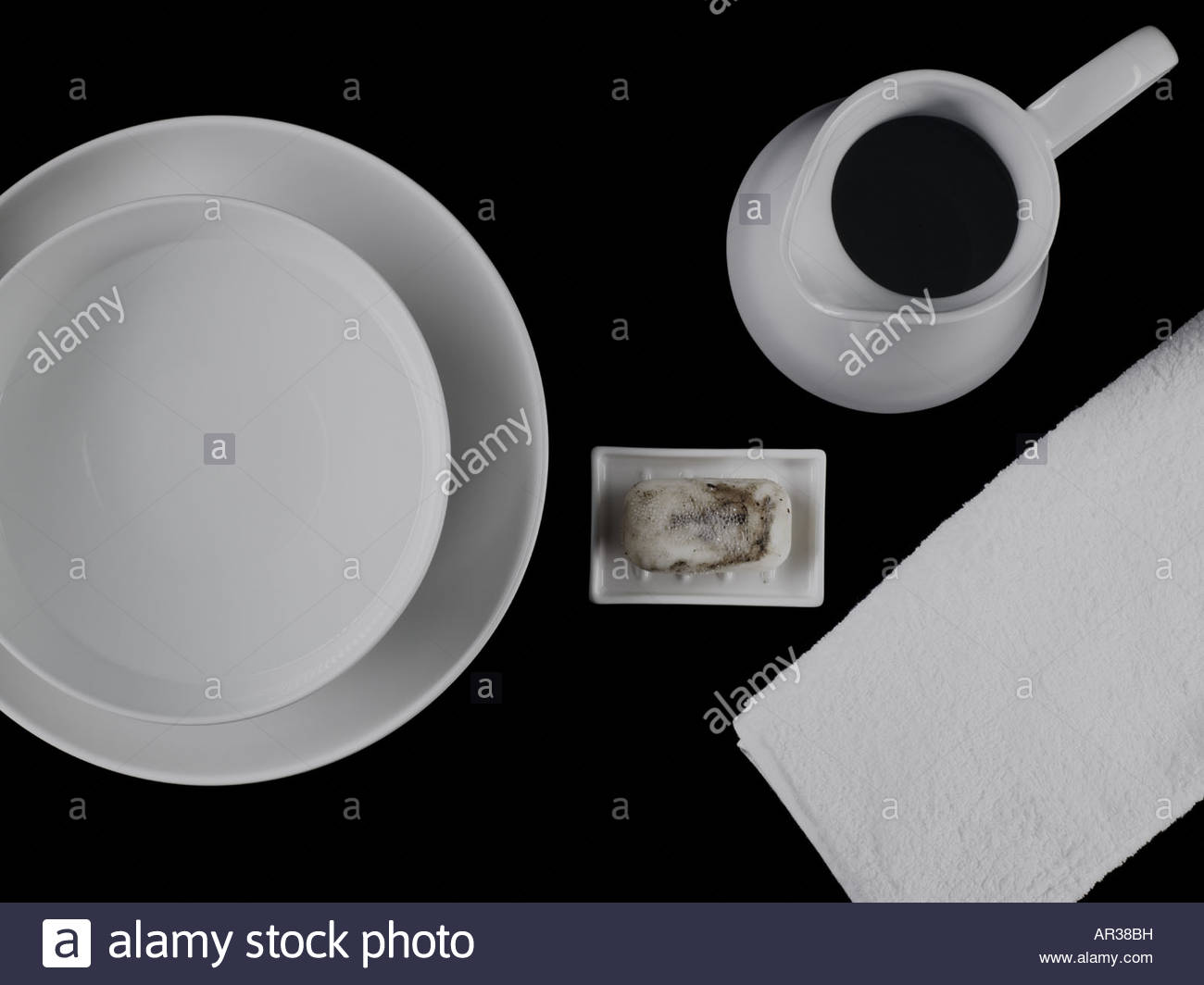 Wash set and dirty soap - Stock Image
