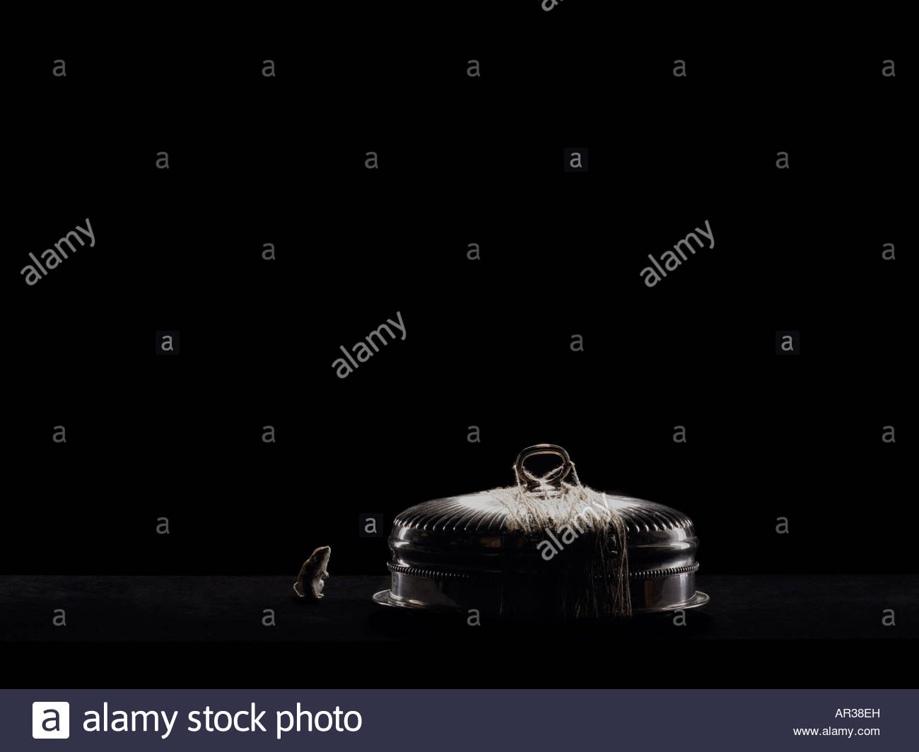 Mouse and a silver platter - Stock Image