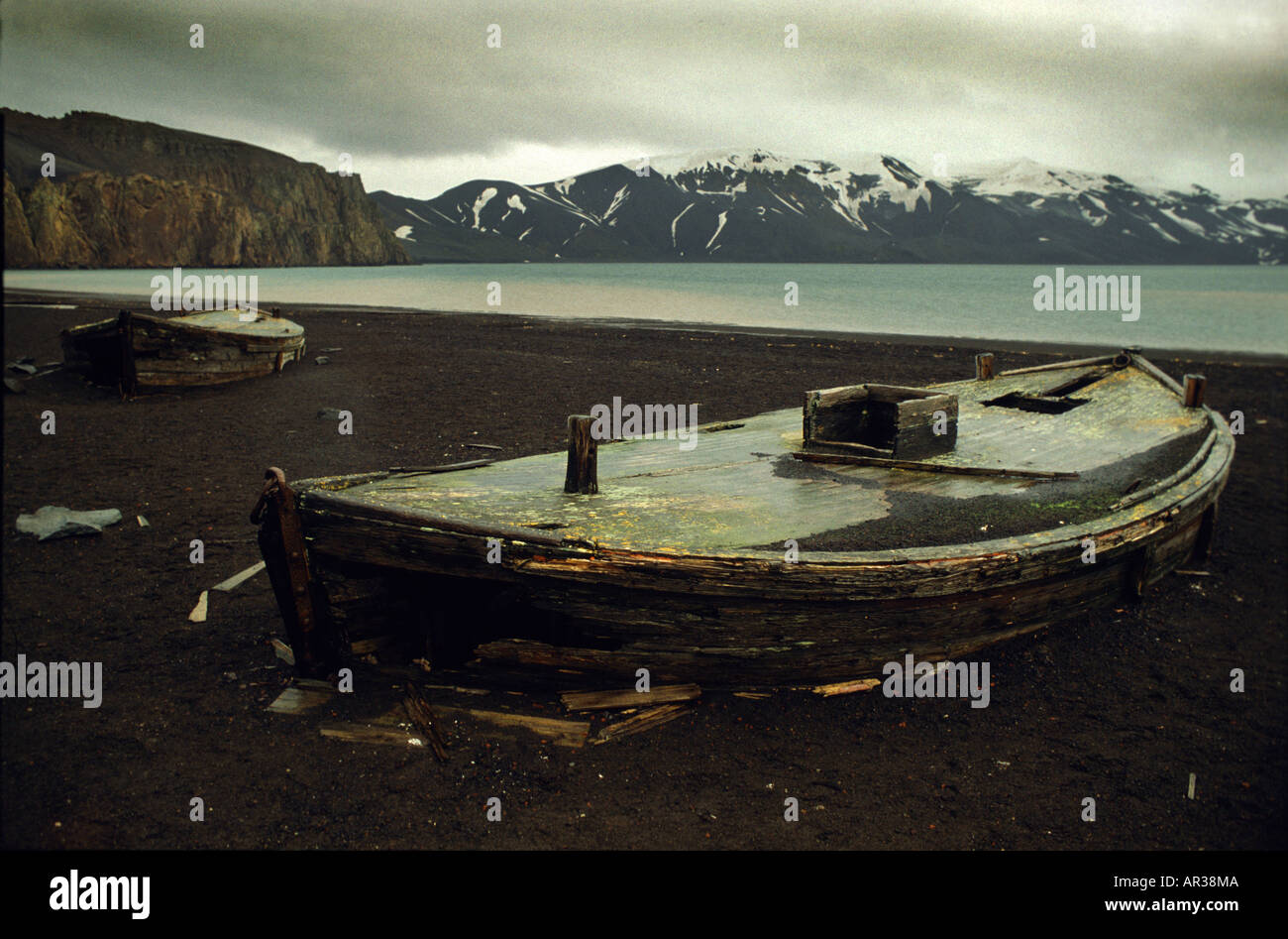 Old whaling boats, Deception Island, Antarctic - Stock Image
