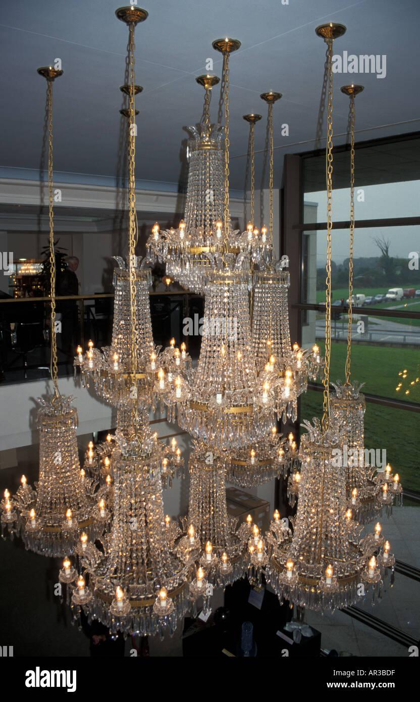 Crystal Chandeliers in the Waterford Crystal showroom Waterford Ireland - Stock Image