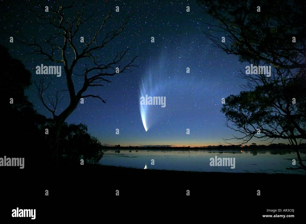 McNaughts Comet over Lower Eyre Peninsula South Australia 2145 hours on 22 Jan 2007 - Stock Image