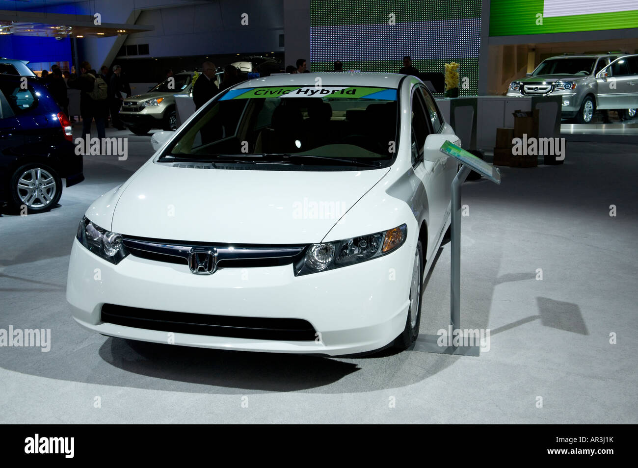 Honda Civic Hybrid Car At The 2008 North American International Auto Show In Detroit Michigan USA