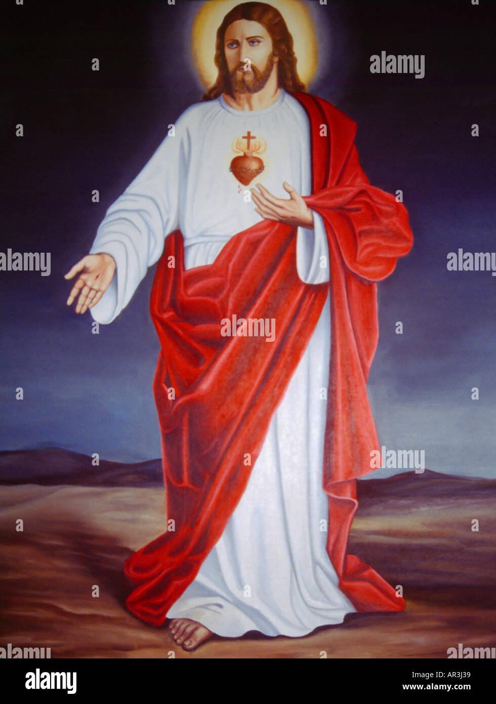 Hamra Beirut Lebanon Greek Orthodox Church Jesus - Stock Image