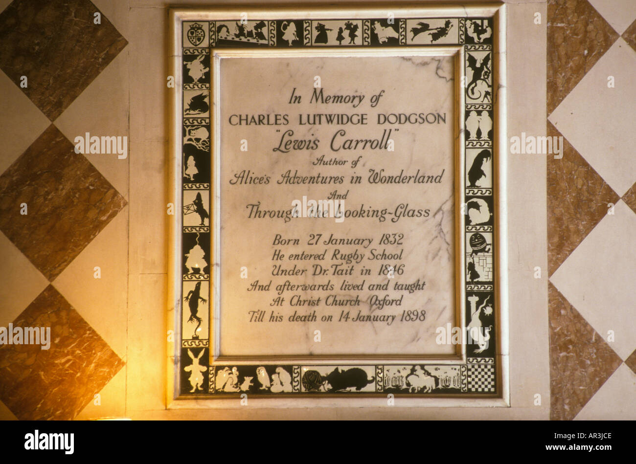 Plaque in memory of Lewis Carroll in Rugby School, Warwickshire England - Stock Image