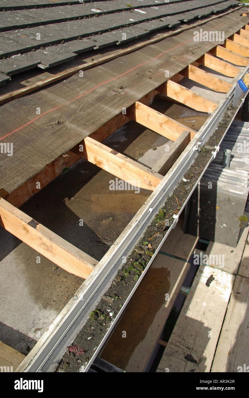 Roof Repair In Progress To Under Felt Amp Battens Below