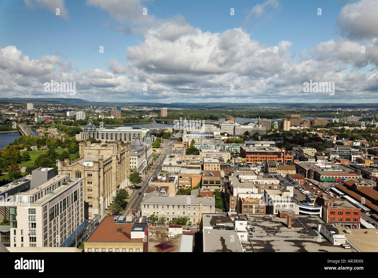 View of Ottawa neighborhoods. Ottawa consists of many architectural styles from Gothic Revival Renaissance and French - Stock Image