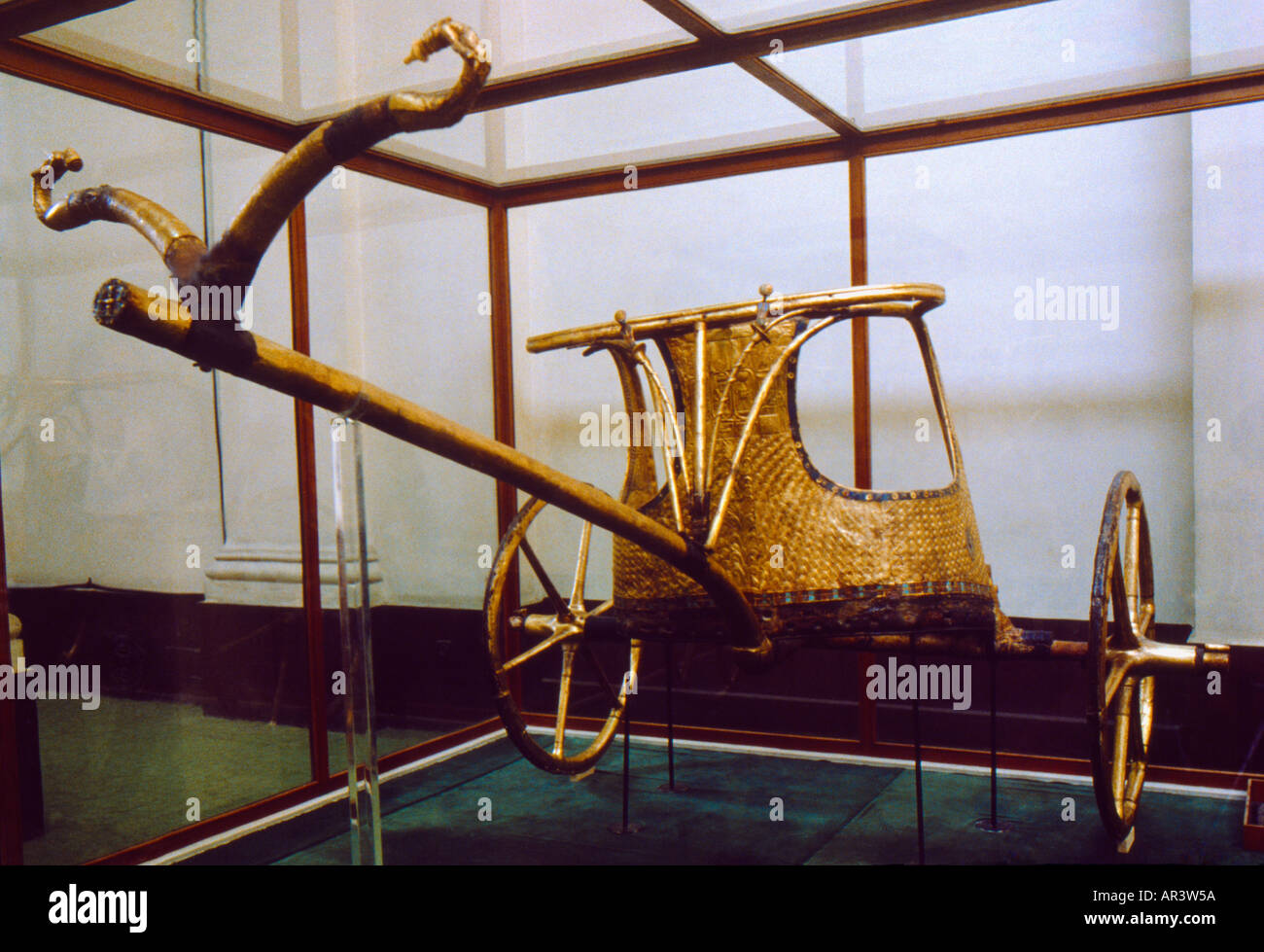 Cairo Egypt Golden Chariot Of King Tutankhamun - Stock Image