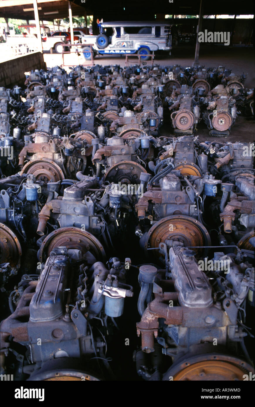Jeepney factory, used Japanese engines, Metro Manila Luzon Island Philippines - Stock Image
