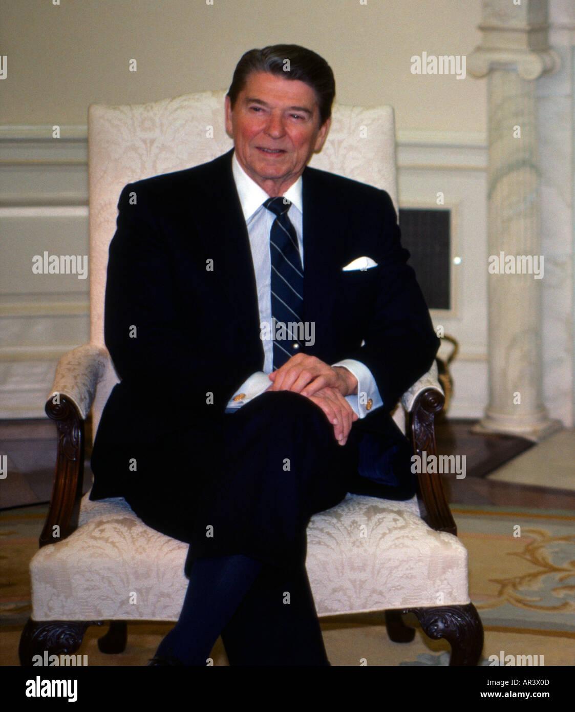 Washington DC USA President Ronald Reagan At The White House - Stock Image