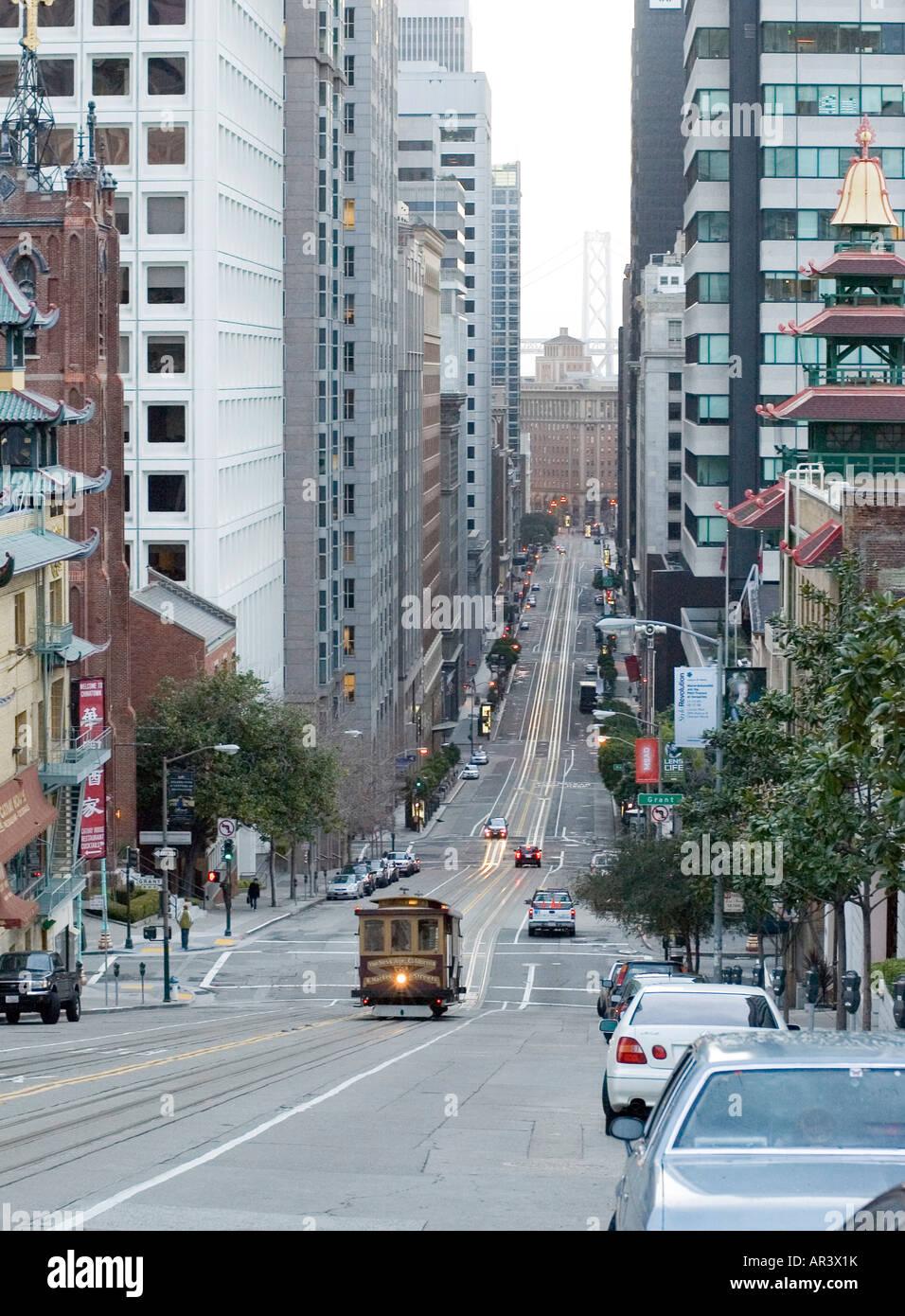 A cablecar in San Francisco, California - Stock Image