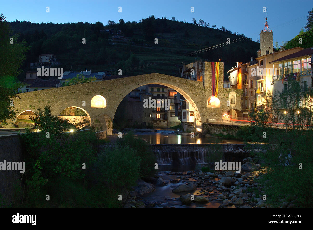Pont Nou 12th century and Ter River Camprodon, Ripolles. Girona province . Catalonia. Spain - Stock Image
