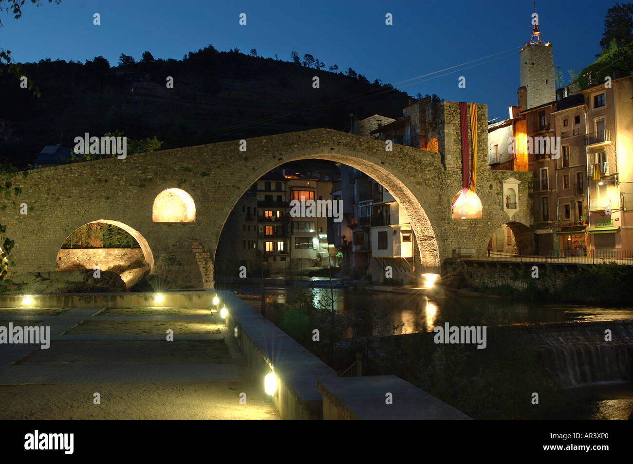 Pont Nou 12th century and Ter River Camprodon Ripolles Girona province Catalonia Spain - Stock Image