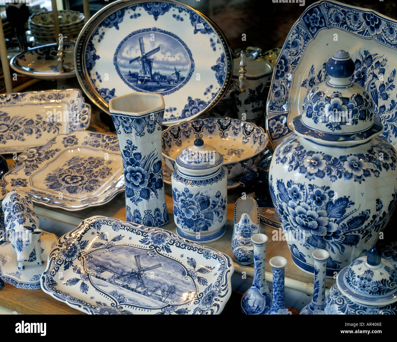 Delft Blue Pottery Delft Zuid Holland Holland - Stock Image