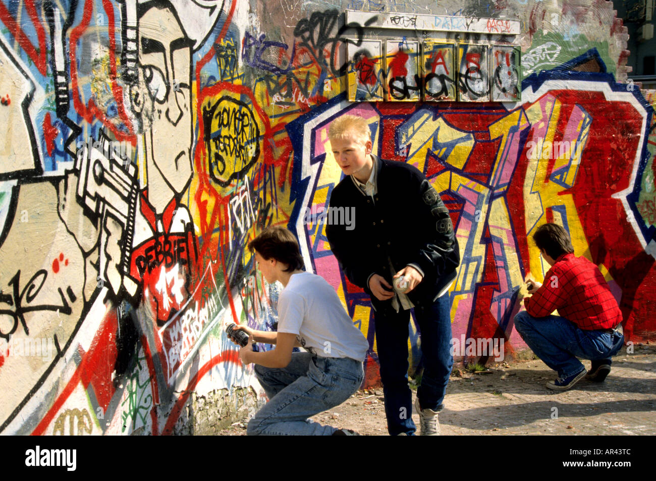 Leiden graffiti mural painting wall painting fresco art depiction picture portrayal netherlands - Stock Image