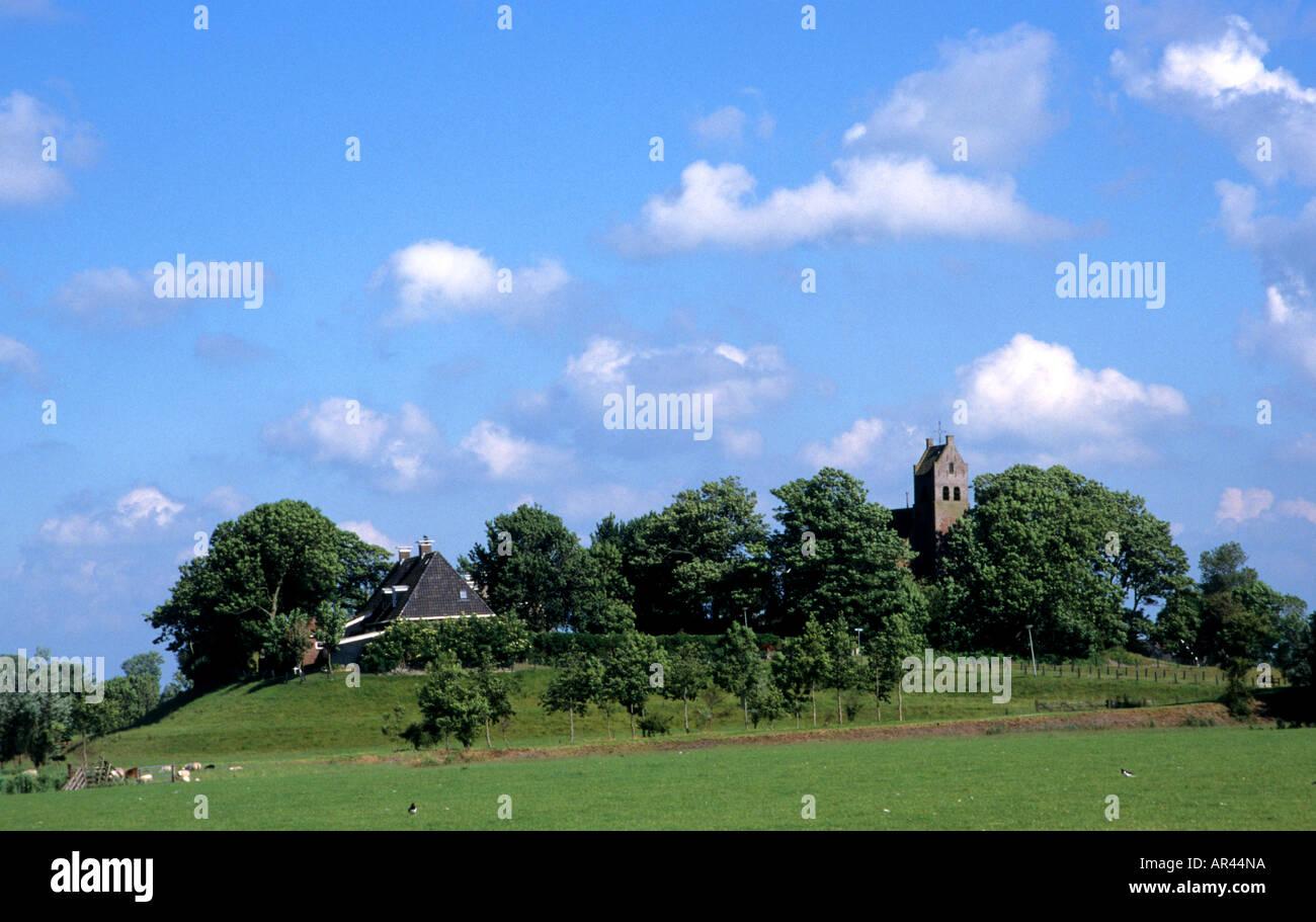 Netherlands Friesland Hogebeintum Terp Agriculture Farm Fryslan - Stock Image