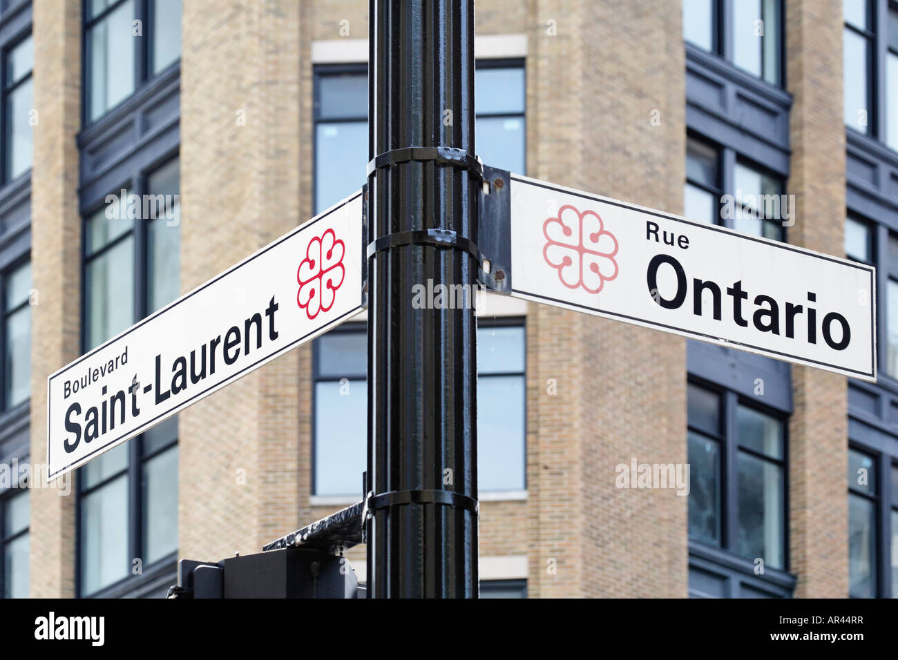 Street sign of Boulevard Saint Laurent and Rue Ontario in Montreal Montreal Quebec Canada - Stock Image