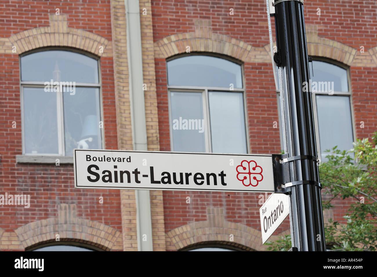 Street sign of Boulevard Saint Laurent Montreal Montreal Quebec Canada - Stock Image