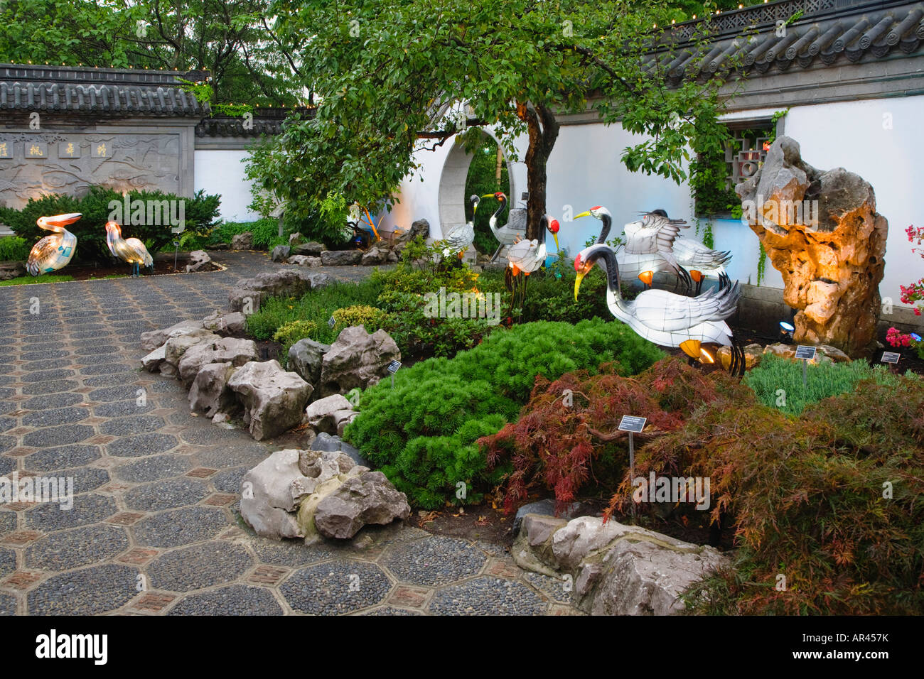 Chinese Garden Ornaments Along A Walkway In The Chinese Garden At