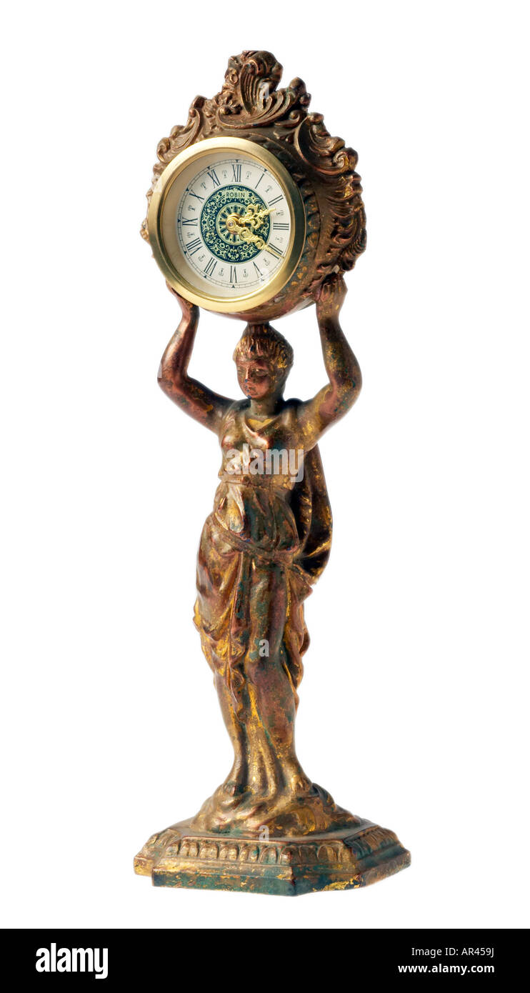 Antique collectible German clock figurine - Stock Image