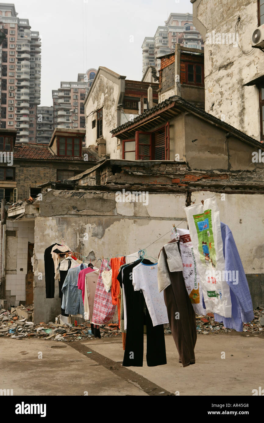 redevelopment area, demolition in old town, Lao Xi Men, Shanghai - Stock Image