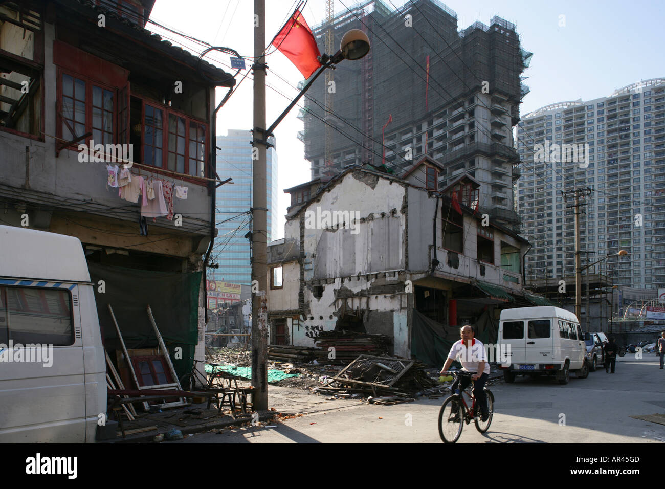 demolition in old town, Lao Xi Men, redevelopment area, Shanghai, China - Stock Image
