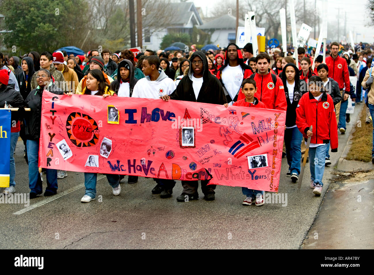 Mlk March Banner In Martin Luther King Parade In San Antonio Texas