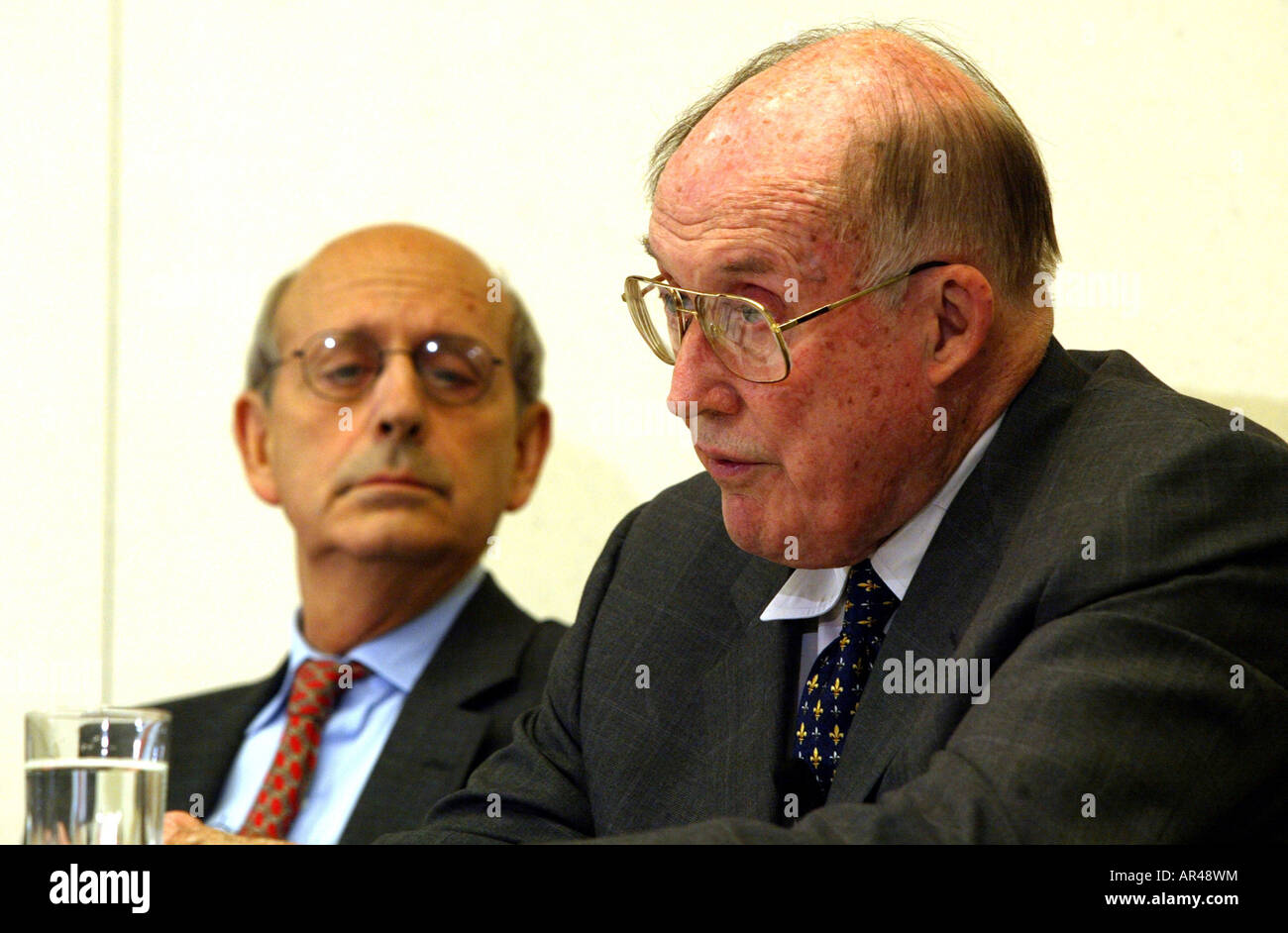 Washington, DC 7/15/02  Supreme Court Chief Justice William Rehnquist with Associate Justice Stephen Breyer in background. - Stock Image