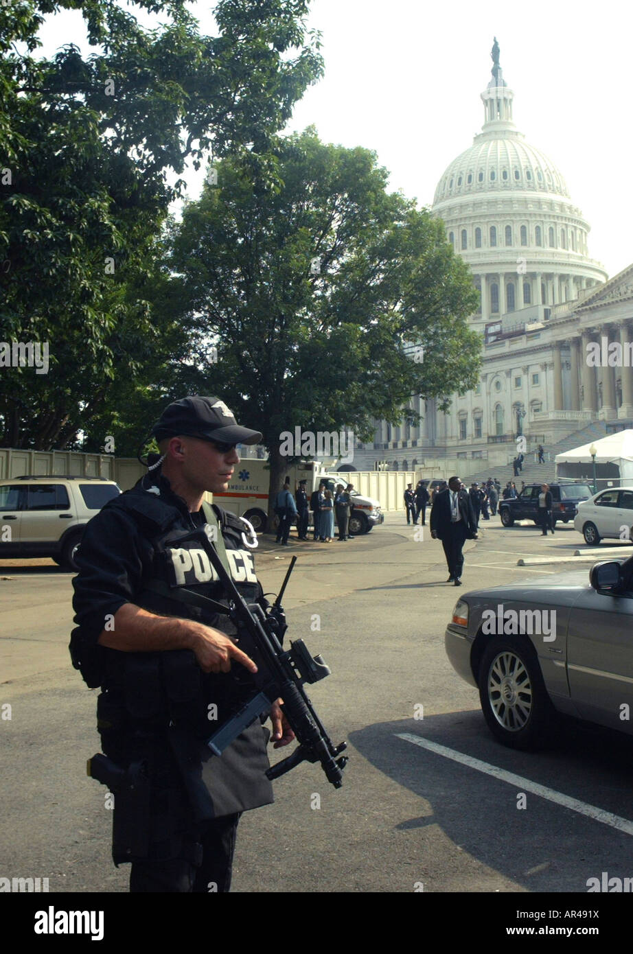 US Capitol police on alert after the Capitol was evacuated in the threat of an airplane that was on a course towards - Stock Image