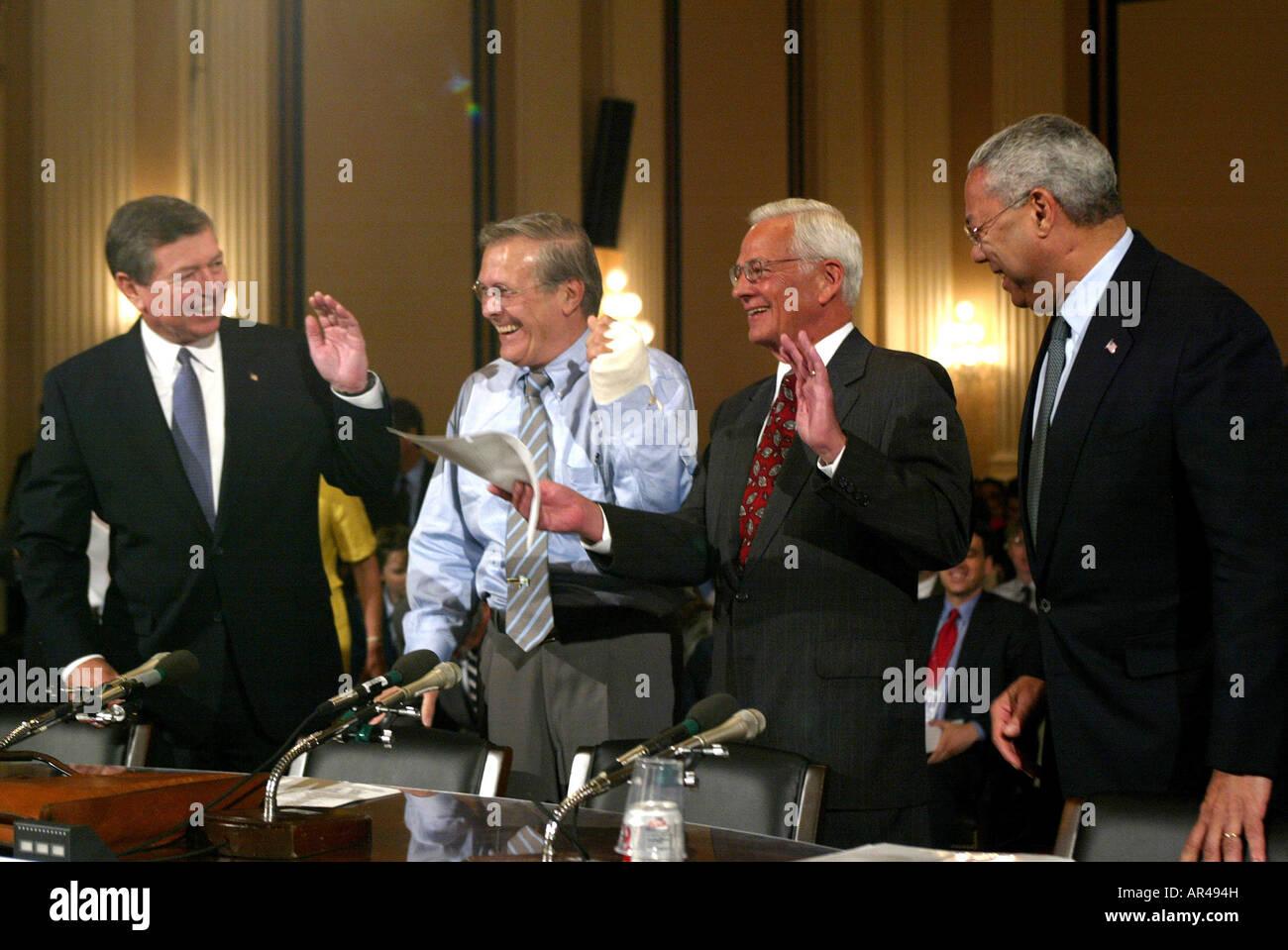 Washington, DC 7/11/02 John Ashcroft, Donald Rumsfeld, Paul H O'Neill, - Stock Image