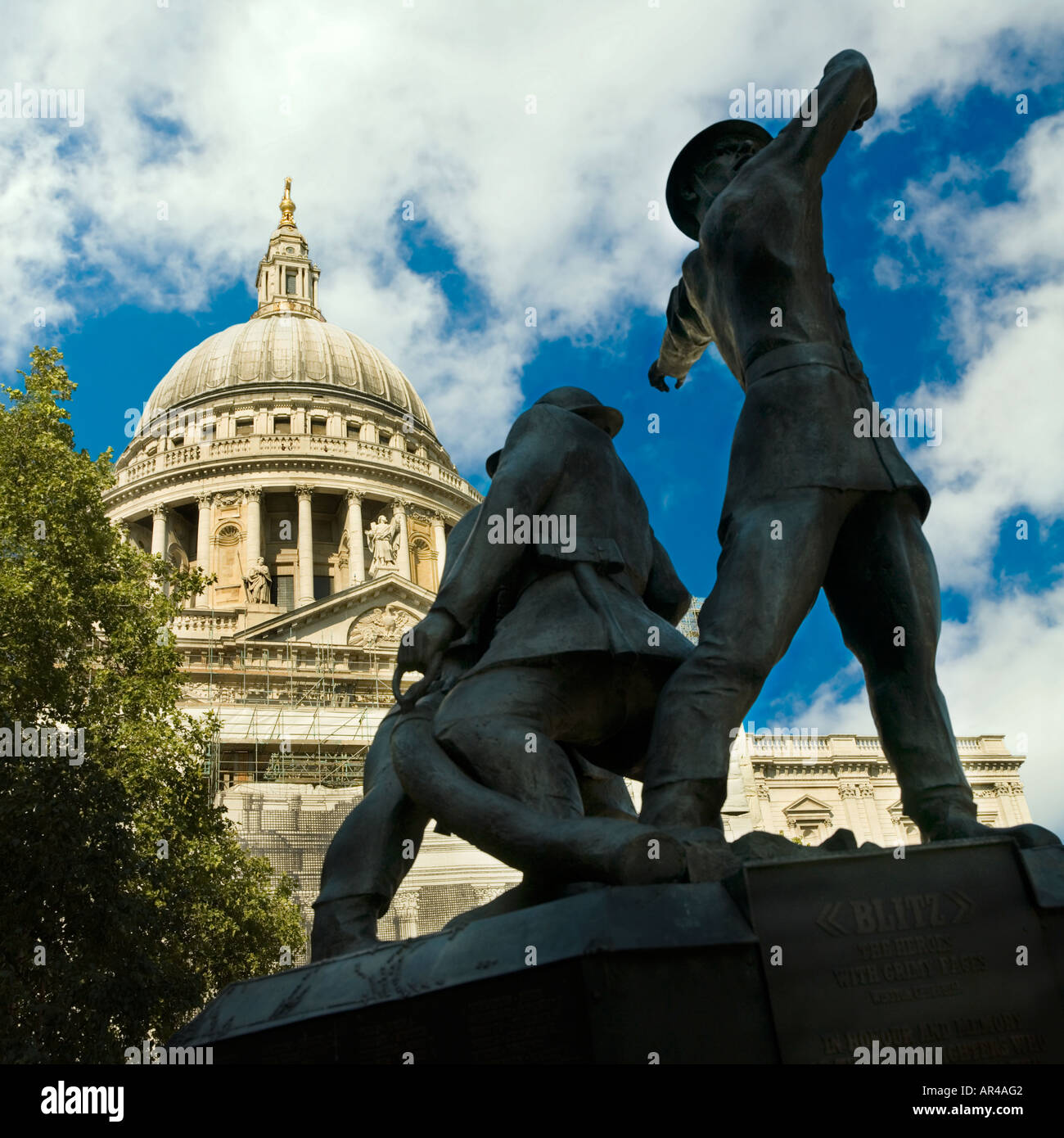 London Saint Pauls  cathedral blitz firefighters memorial - Stock Image