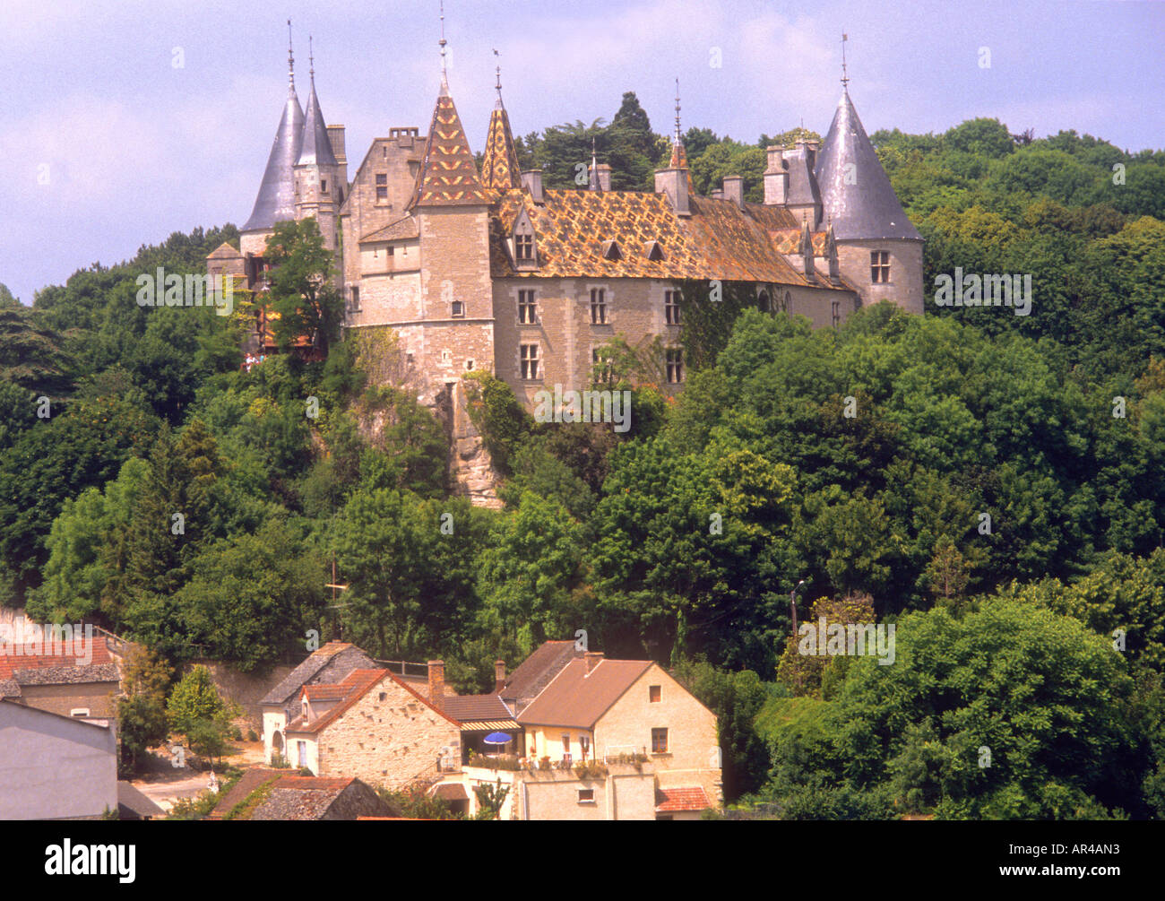 Typically coloured traditional patterned,tiled roof in Beaune,France - Stock Image