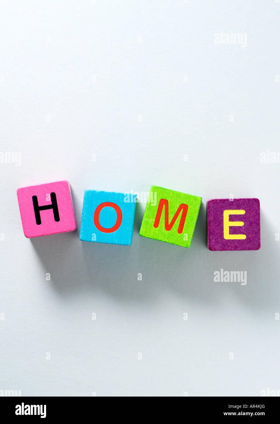 Building blocks spelling home - Stock Image
