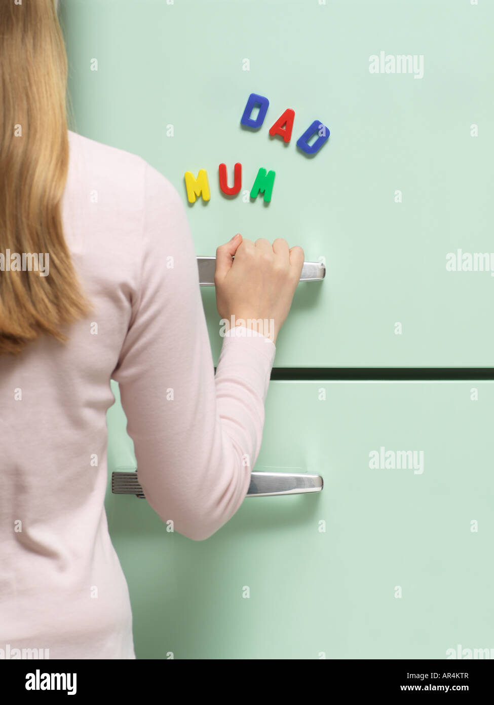 Words written with magnets on refrigerator - Stock Image