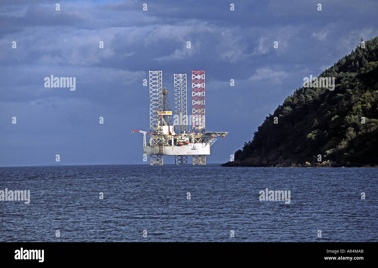 Galaxy III Oil Exploration Platform anchored at Sutors of Cromarty in North Scotland - Stock Image