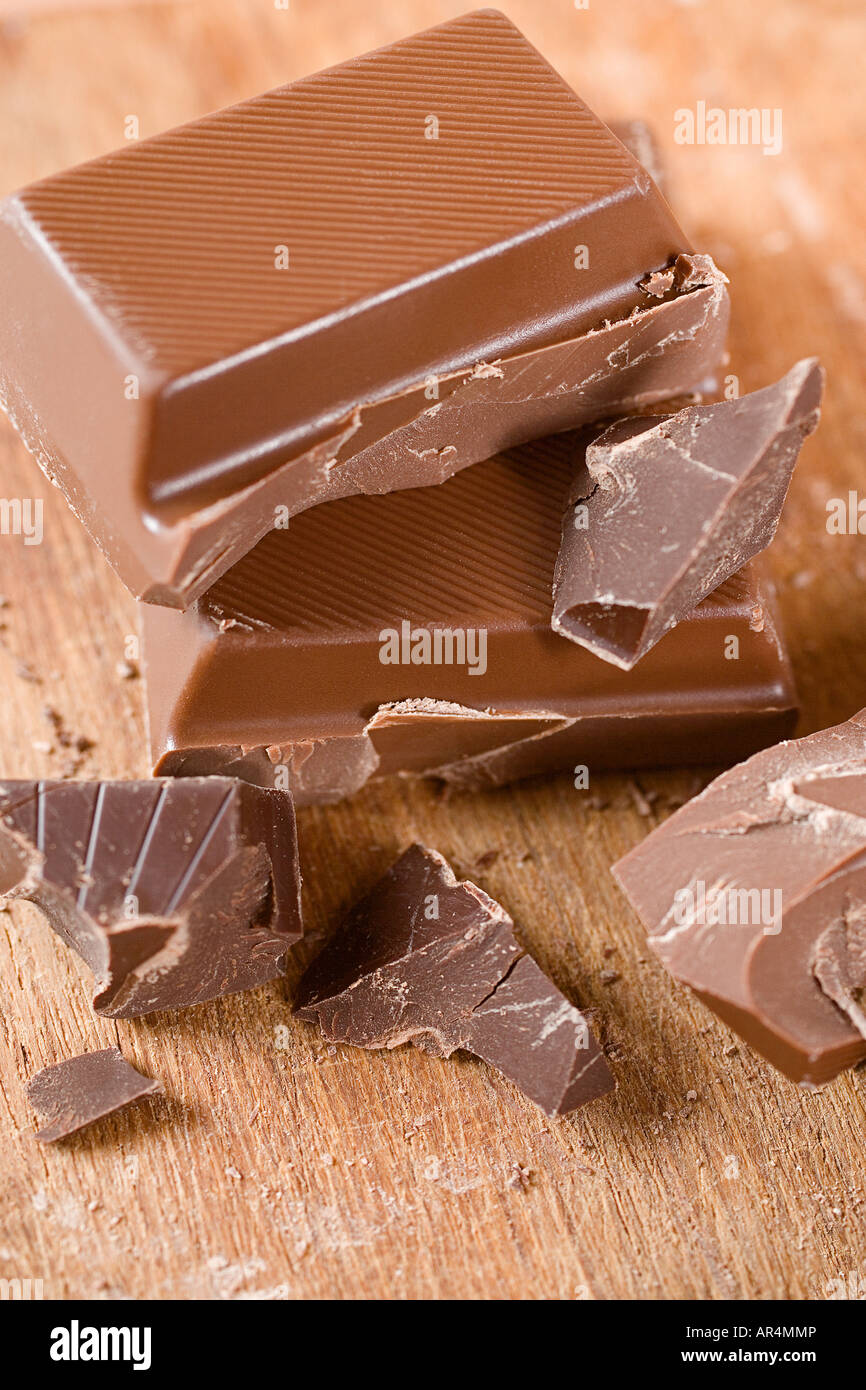 Pile of chocolate pieces - Stock Image