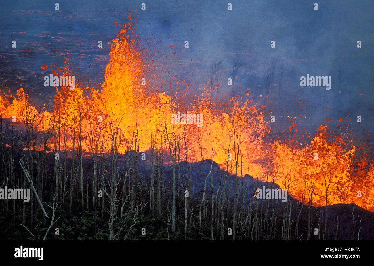 Kilauea east rift zone eruption near Puu Oo vent Hawaii Volcanoes National Park Island of Hawaii - Stock Image