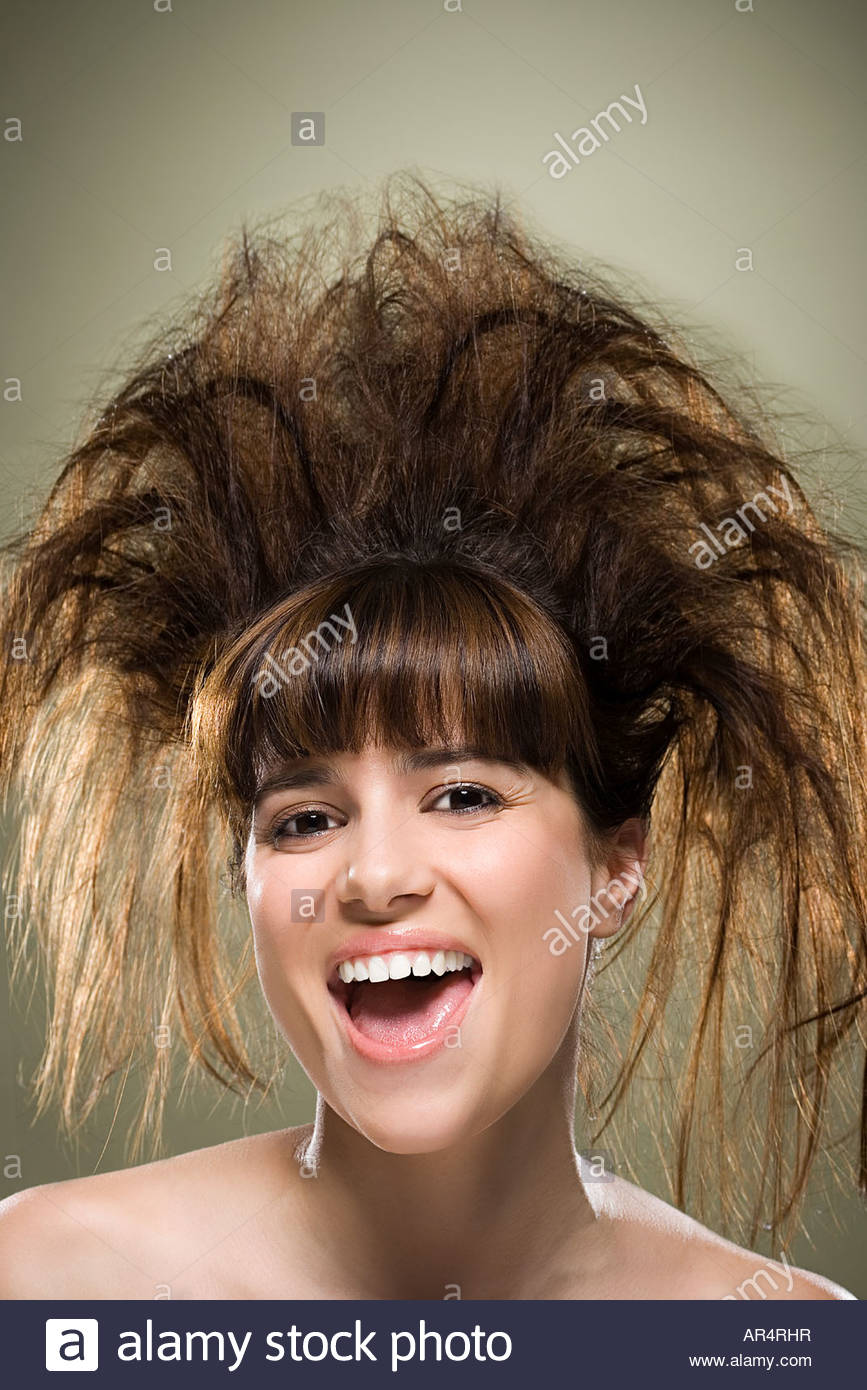 Young Woman With Backcombed Hair Stock Photo 15938818 Alamy